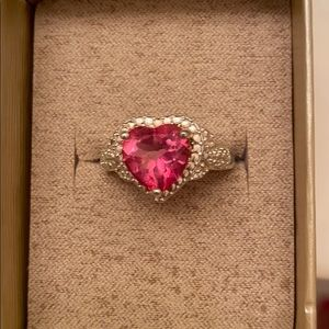 Pink Topaz 4.84CT Heart Shaped Ring in .925 SS.